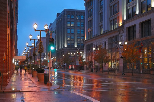 Washington Avenue, in downtown Saint Louis, Missouri, USA - at dusk in the rain