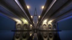 Foggy Dubai (momentaryawe.com) Tags: reflection water weather dubai uae foggy emirates dubaicreek unitedarabemirates hdr d300 businessbaybridge catalinmarin momentaryawecom