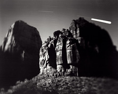 While the stones are sleeping. (Komkrit.) Tags: white black rock stars utah shift till moonlight 4x5 zion largeformat komkrit