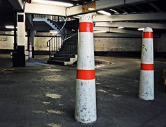 Level 4 (C.W. Thomas) Tags: red sign stairs edinburgh steps pillars carpark bollards castleterrace f200exr
