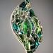 Particolare di vetrata artistica rilegata a Tiffany. Gemme di cotisso vetro di  Murano Venezia inserite a Tiffany in vetrata artistica temperata