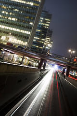 Sveavgen By Night (Hannes R) Tags: street city bridge light mist blur cars car fog night skyscraper lights skyscrapers traffic sweden stockholm motionblur sergelstorg sveavgen htorgsskraporna norrmalm
