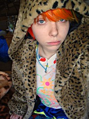 I'm a faux leopard!! (Megan is me...) Tags: blue red portrait orange color green colors smile fashion rose yellow self hair print fur effects photography one diy clothing crazy rainbow eyes colorful neon pretty colours russell bright unique coat awesome meg violet plum megan style nuclear special clothes kind fishbowl leopard iguana faux jerome colored mayhem punky striped bleached dyed napalm sfx rosered megface meganisme bleachednapalmorange