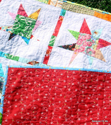 star quilt detail and backside