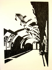 Woodcut Leicester Square '86 (peterwortel) Tags: white black london art underground kunst tunnel zwart wit woodcut gravure houtsnede