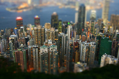 Hong Kong skyline tilt shift (MB*photo) Tags: china skyline night miniature fake peak victoria kong hon chine maquette tiltshift effetminiature wwwifmbch marcbaertsch