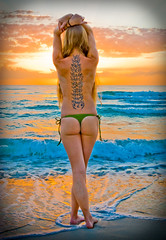 Greeting the Sun (eyecbeauty) Tags: ocean tattoo clouds ink sunrise sand florida wave shore 1001nights miamibeach bodyart skinart stpattysday sobe 10faves 25faves photographyrocks colorphotoaward dreamscametrue flickraward platinumheartaward thisphotorocks theperfectphotographer flickrestrellas thebestshot spiritofphotography colorsofthesoul artofimages platinumbestshot bestcapturesaoi oracoob gardenofvenus todaysbest artisawoman favtop50 favtop35