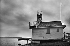 cherrybeach_hut (SteveStudio.GrandPaparazzi) Tags: winter house lake cold tower beach clouds blackwhite lifeguard lookout shore frame stevestevesteve