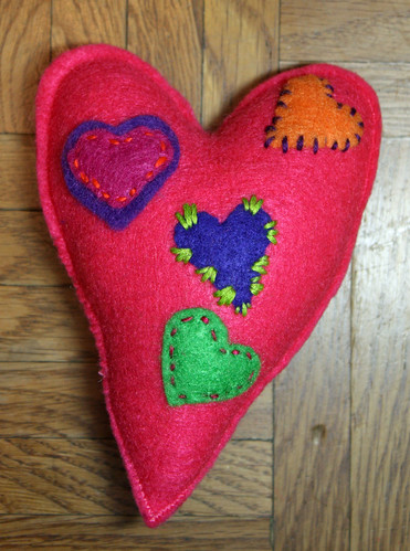 Pink heart pincushion