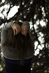 {130/365} (Whitney Justesen) Tags: trees self pose 50mm sweater hands bokeh stripes 365 blech explored drycrackedhands