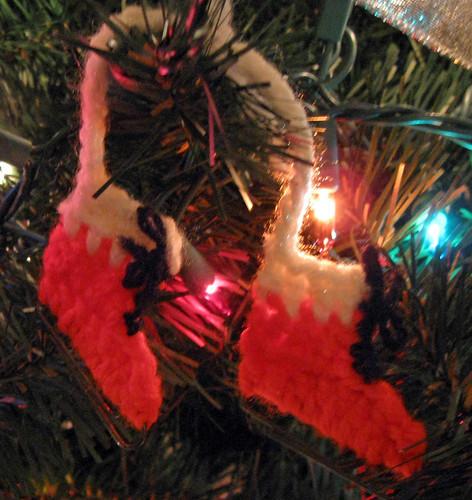 Crocheted Christmas Ice Skate Ornament