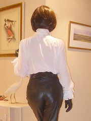 Leather is back (french_lolita) Tags: white black leather shirt pants leatherpants leatherbutt