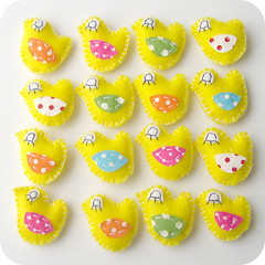 easter chicks by Heartfelt Handmade (heartfelthandmade) Tags: bird yellow easter spring eyes pin bright handmade brooch decoration chick fabric chicks magnet heartfelt birdies hairclip feltpolkadot