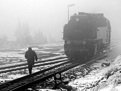 Misty (Gerry Balding) Tags: mist snow mountains train germany track smoke engine railway steam rails brocken locomotive harz narrowgauge hsb harzerschmalsurbahnen