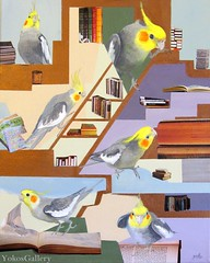 Howdy in the study (YokosGallery) Tags: blue portrait pets abstract green art birds bronze painting paper acrylic purple den books canvas lilac cockatiel etsy yokosgallery