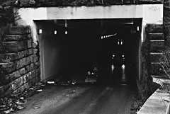 R4-012-4A (David Swift Photography Thanks for 21 million view) Tags: davidswiftphotography philadelphia tunnel carheadlights trash debris urbanphotography neglected 35mm film leicaminilux ilfordxp2 underground