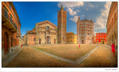 Piazza Duomo @ Parma (Italy) - Panorama (Eric Rousset) Tags: summer sky italy panorama architecture clouds photoshop landscape photography vacances reflex nikon holidays europe raw cathedral sigma wideangle parma 1020mm t nuages battistero 2009 hdr highdynamicrange italie cathedralsquare d300 piazzaduomo photomatix labcolor parme tonemapping nikond300 piproduction ericrousset hoyamoosesfilterwarmcircularpolarizer sigma1020mmf45dcexhsm