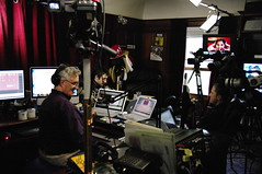 Kevin Rose and David Prager in studio for TWiT, Gina Trapani on screen (Leo Laporte) Tags: california unitedstates petaluma eyefi