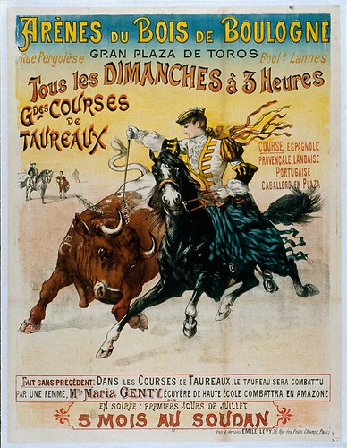 015- Affiche publicitario plaza de toros del bosque de Bolonia-siglo XIX
