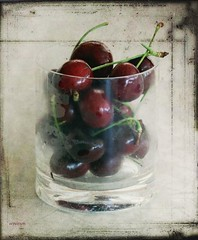 sharing a bowl of cherries and a book of poetry... (eepeirson) Tags: cherries drink 25faves specialpicture ultimateshot theperfectphotographer texturejenny