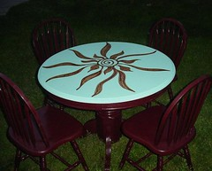 August 070x (Rick Cheadle Art and Designs) Tags: blue red brown white abstract black flower color colour green art love floral yellow illustration outside design cool whimsy acrylic hand purple graphic dragonfly furniture folk circles painted funky exotic handpainted tables oil naive spiritual decor paisley eclectic embossed acrylics whimsical ecclectic abstrct desibn rickcheadle anniesloanchalkpaint shabbyfrench