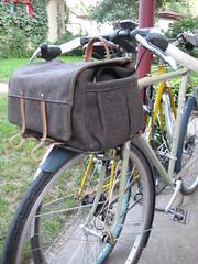 Handmade Wool & Canvas Trunk Bag (guidedbybicycle) Tags: wool bicycle bag handmade steel rack decaleur