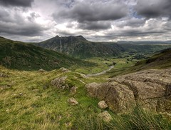 England: Cumbria - Oxendale Beck and Gt. Langdale Valley (Tim Blessed) Tags: uk sky mountains nature clouds landscapes countryside scenery rocks hills cumbria lakedistrictnationalpark singlerawtonemapped