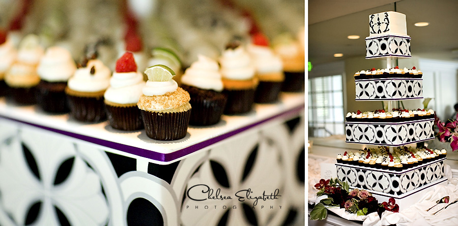 Cupcake wedding tower with cake and mini cupcakes