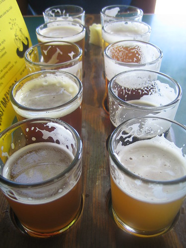 Taster tray at Lost Coast Brewery