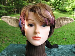 Crocheted Elf Fairy Costume Ears on Black Headband