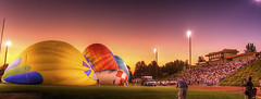 What I Did on Homecoming Night (Philerooski) Tags: school sunset sky panorama hot field grass festival canon balloons lights washington colorful track stadium vibrant pano air crowd photographers highschool wa footballfield hotairballoons hdr prosser stands mustangs balloonfestival philerooski