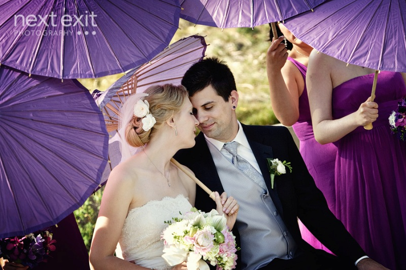 pepperdine chapel wedding purple parasols