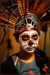 Dia De Los Muertos 2008 (immaculate perception) Tags: holiday girl dayofthedead costume mask makeup mexican diadelosmuertos ornate