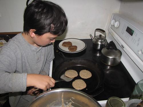 son cooking acorn pancakes