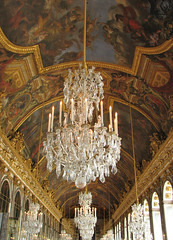 Palace of Versailles - Hall of Mirrors (*Checco*) Tags: france art lamp hall europa europe paint interior room perspective royal mirrors palace ceiling indoors chandelier versailles ornate chateau francia hallofmirrors fresco chateaudeversailles