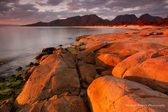 Golden Days (mick walters/Billy) Tags: longexposure sunset seascape landscape tasmania freycinet colesbay hazardsbeach worldwidelandscapes