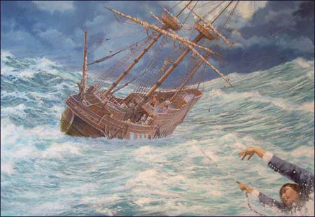 'Pilgrim overboard' print by Mike Haywood