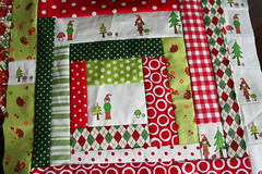 Christmas Gnomies Pillow -WIP (tashanoel) Tags: red holiday mushroom forest woodland gnome quilt logcabin hedgehog patchwork polkadot scrappy