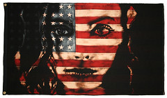 looking-glass-pamglew-lockup (Pam Glew) Tags: blue red portrait white black art face female contrast painting stars eyes contemporary flag stripe vivid icon fabric american strong pamglew