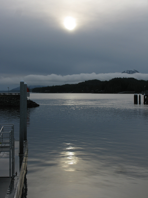 the sun through an overcast sky, Ketchikan, Alaska