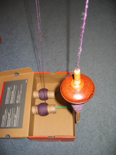 Plying by drop spindle