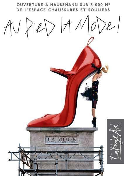Publicité Galerie Lafayette, Au pied de la mode, août 2008