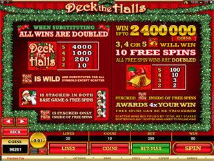 free Deck the Halls gamble bonus game