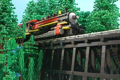 Steam Through the Piney Woods (SavaTheAggie) Tags: railroad trestle bridge trees green forest train photo woods texas tour power lego state scenic engine trains steam east foliage locomotive 300 functions 280 piney 9v consolidation tsrr