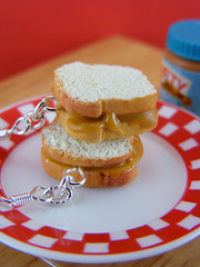 Peanut Butter Sandwich Earrings (Shay Aaron) Tags: food breakfast bread spread miniature handmade paste aaron fake mini jewelry polymerclay fimo tiny faux shay skippy geekery jewel creamy petit              shayaaron wearablefood