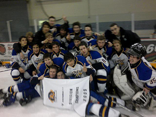 The DHS Boys Eagles Hockey team celebrates their B side win at their weekend tournament (submitted photo)
