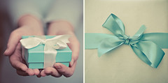 #19 (_cassia_) Tags: blue two white grey beige hands diptych shiny turquoise pair cream gift bow present ribbon tied weekly collaboration twophotographers