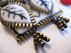 Feet detail (woolly  fabulous) Tags: white wool leaf pin heart recycled brooch felt owl zipper newbirds embroisered