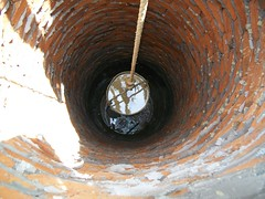A bucket is brought up from the bottom