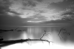 to wait (dK.i photography (counting down)) Tags: morning sky blackandwhite cloud monochrome canon dawn early maryland chesapeakebay chesapeakebeach bayfrontpark hoyand400 5dmkii singhrayrgnd